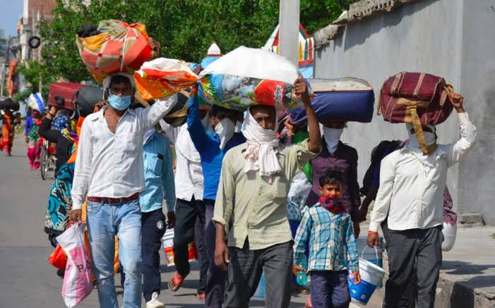Migrant Workers traveling back to their homes
